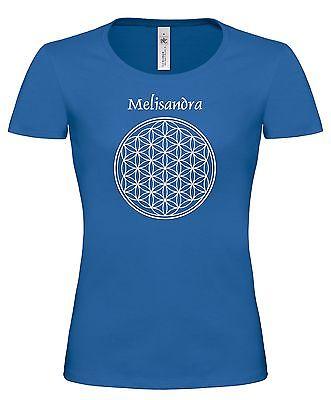 Damen T- Shirt, Blume des Lebens, Lebensblume mit indiv. Name oder Text