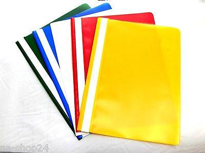 Schnellhefter DIN A 4 weiß, Rot, Blau, Gelb 10, 25, 50 looseleaf binders