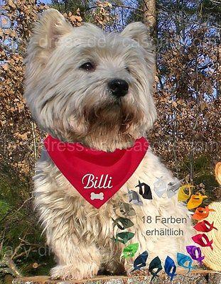 Hundehalstuch mit Namen bedruckt / bestickt in 18 Farben Dreieckstuch Hund Tuch