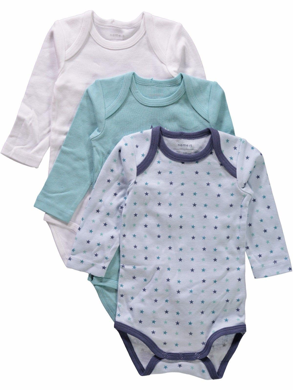 Name it Baby Body 3er Pack langarm Sterne in Gr. 50/56/62/68/74