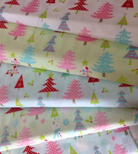 Riley Blake Christmas Basics fabric xmas trees snowmen material metre FQs