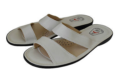 Womens Ladies Natural Calf Leather Slipper Mules Flip Flops Beach Sandals