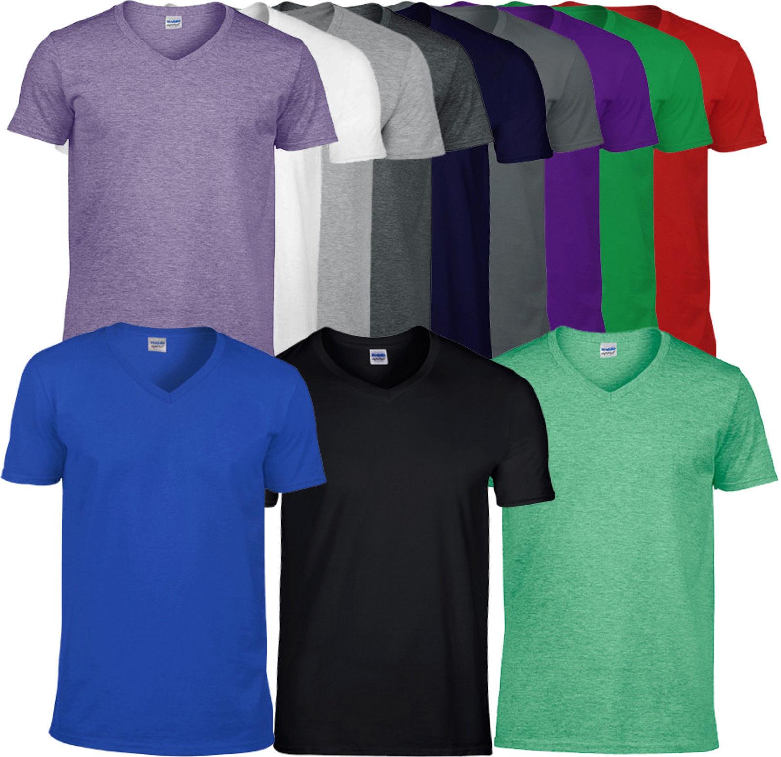 Gildan Herren Softstyle V-Neck T-Shirt kurzarm Unisex S M L XL XXL (C) NEU TOP