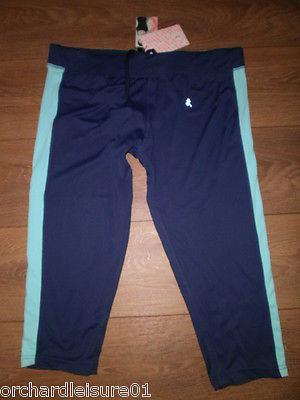 Ladies  Workout Blue Active Wear Crop Leggings sizes 8, 10 , 12, 14, 16 BNWT