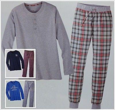 Herren Schlafanzug Pyjama Hose + Pullover lang M L XL 48 50 - 56 58 *G065 -6