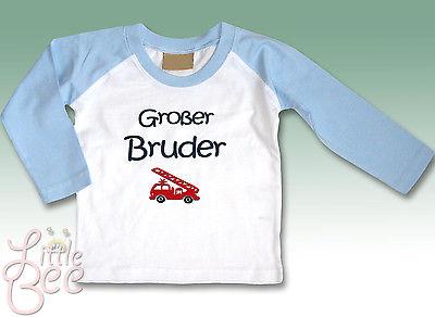 LA-Shirt m.Aufdruck Großer Bruder - Wahl: Motiv, Wunschname, Größe Weiß/Hellblau