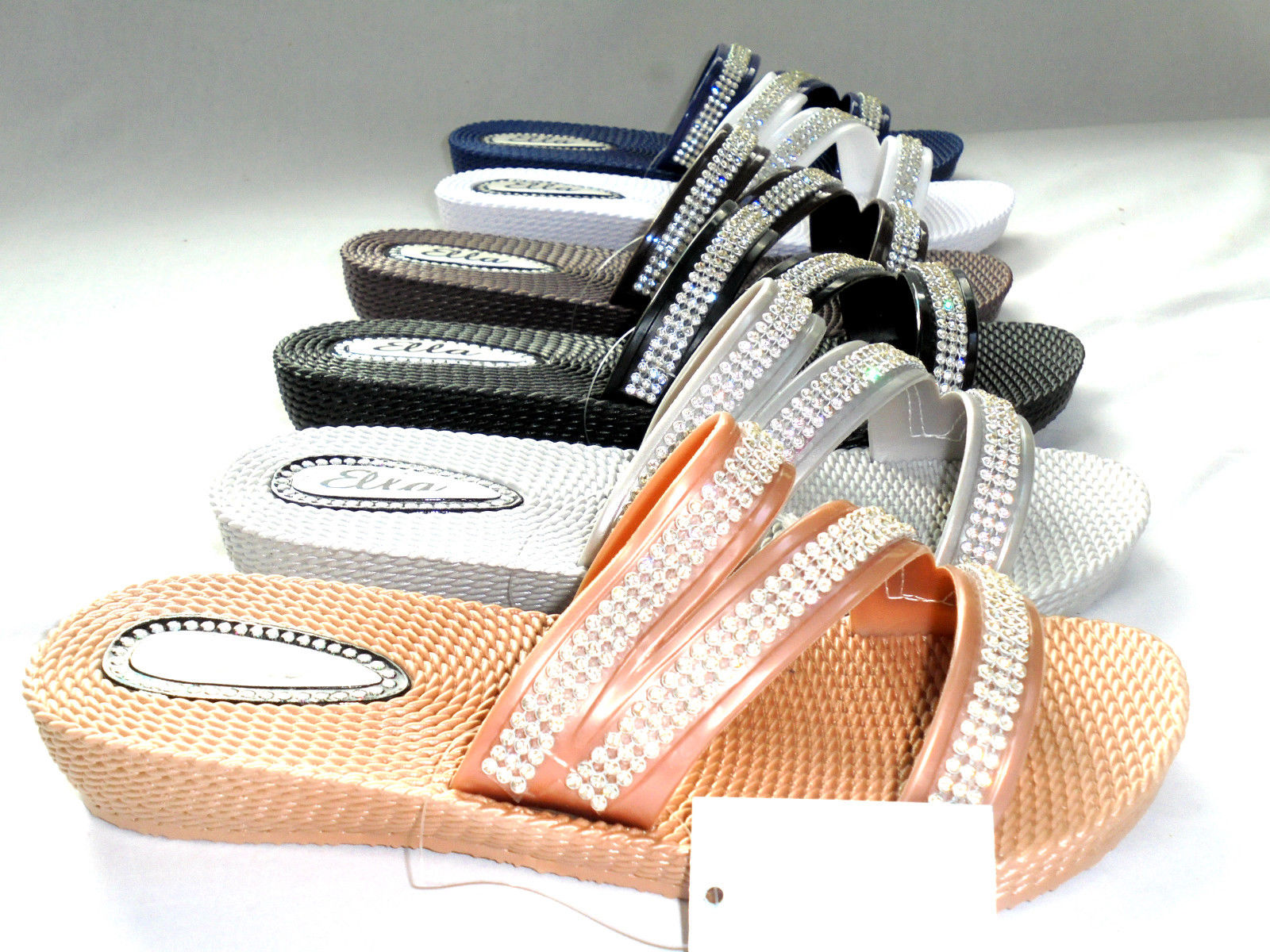LADIES WOMENS NEW ELLA MULE SANDALS LOW WEDGE DIAMANTE FLIP FLOPS SIZE 3 - 8