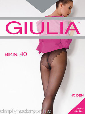 Giulia Bikini 40 Denier Sheer Tights 1 Pair Bikini Brief to XL no back Panel