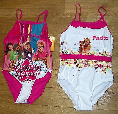 Badeanzug für Mädchen Weiß Rosa Patito Feo Motiv   Gr 98 104 116 128 140  146