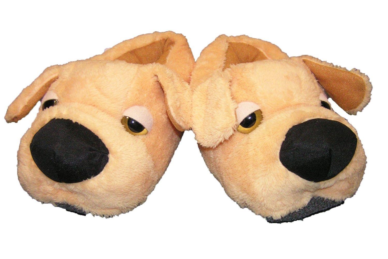 Hausschuhe Plüsch süßer Hund Braun Witzige Tierhausschuhe Damen Pantoffel Warm