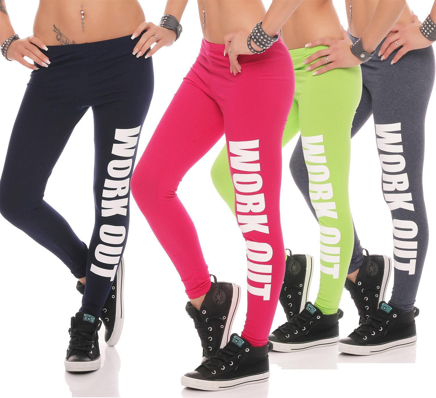 Leggings  WORK OUT Sporthose Baumwolle in 18 FarbenGr. S M L XL XXL 3XL 4XL