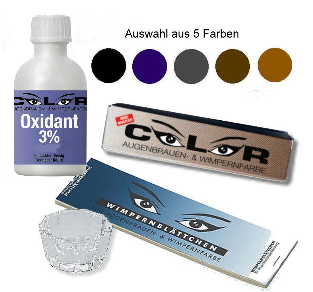 Comair Wimpernfarbe Augenbrauenfarbe Färbe-Set 5-tlg. Auswahl schwarz braun grau