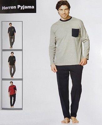 Herren Pyjama Schlafanzug Hose + Pullover lang Nachtwäsche L XL XXL *M071 -6