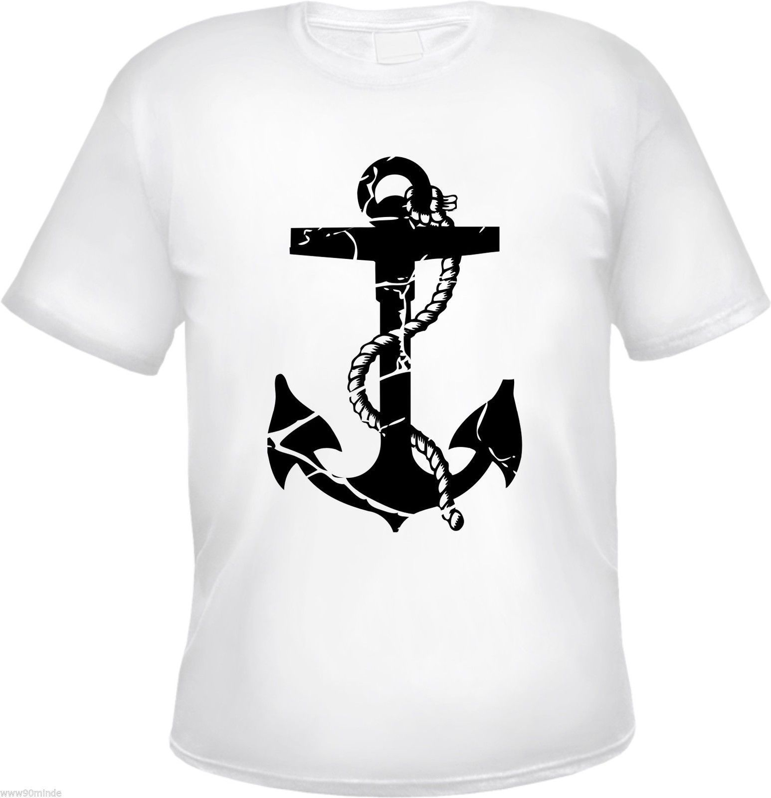 T-Shirt mit ANKER Motiv - WEISS/SCHWARZ - S bis 3XL - rockabilly kapitän anchor