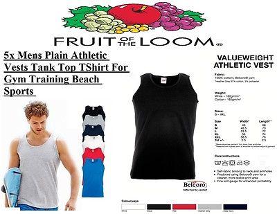 5x Mens Plain Athletic Vests Tank Top Gym Training TShirt Beach Sports FOTL