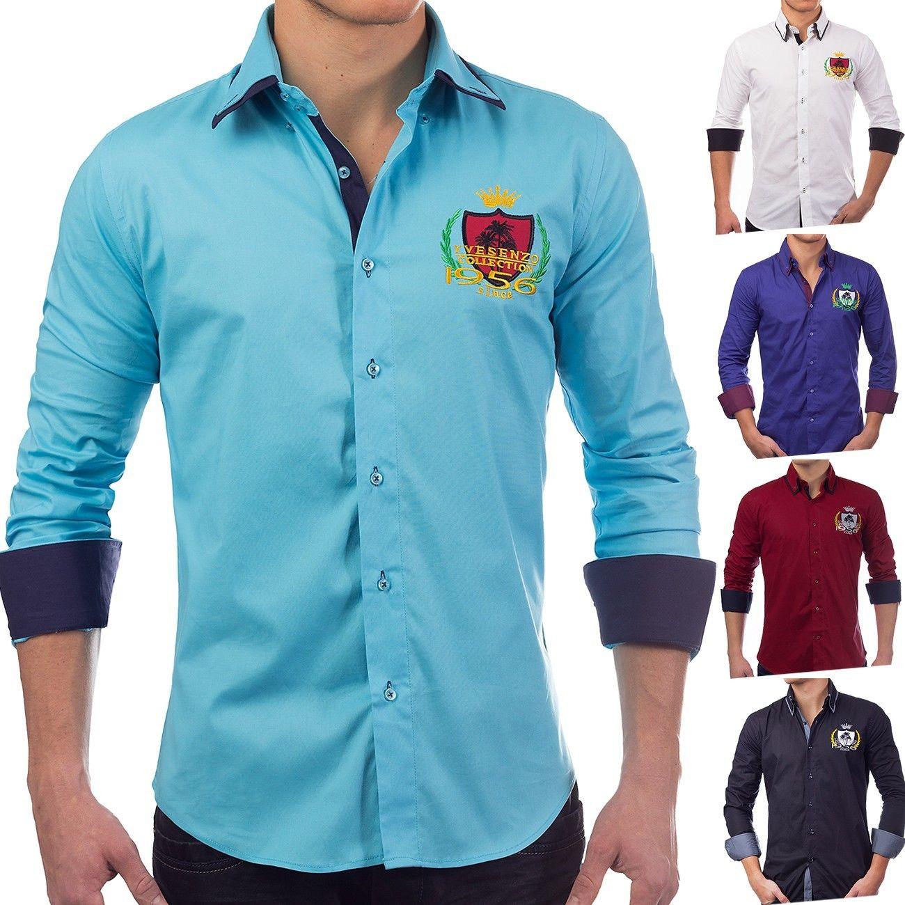 Herren Hemd langarm Polo Shirt SlimFit Patches Freizeithemd Casual(5 Farben)