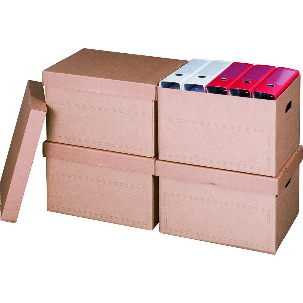 Archivschachtel Transportboxe Archivkarton Archivbox A4 - braun - für Ordner etc