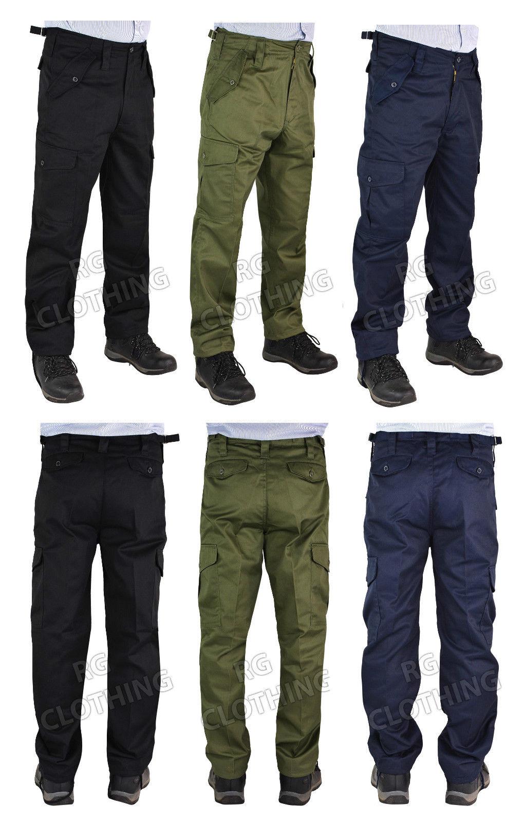 Men Plain Big Size Work/Casual Cargo Combat Trousers Size 28-62 Leg 29.5