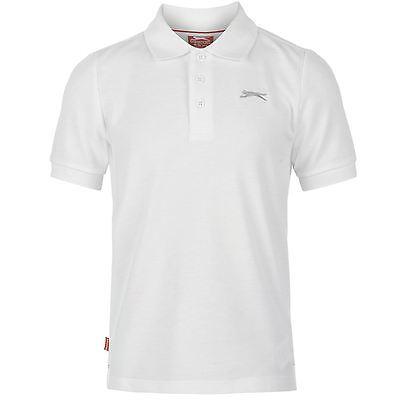 Slazenger Kinder Jungen Einfarbig Polo Poloshirt Kurzarm T Shirt Tee Top