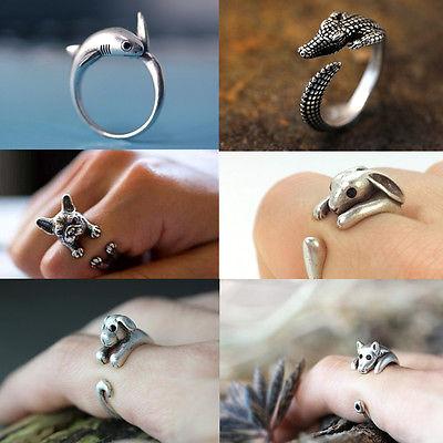 Retro Vintage Hunde Haifisch Tier Ring Fingerringe Damen Ringe Blogger Schmuck