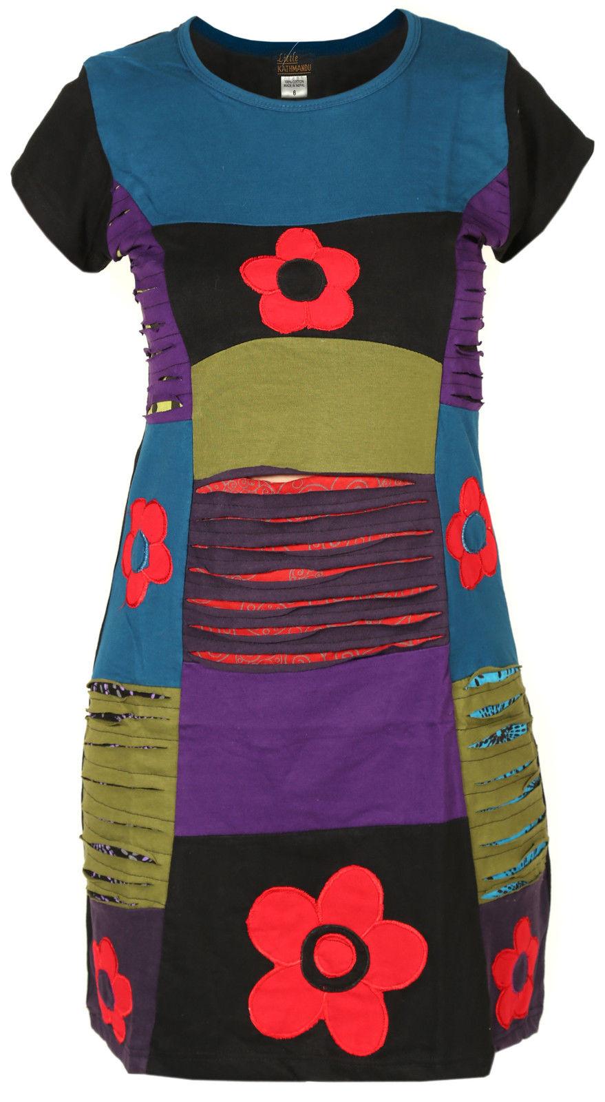 Ladies Floral Razorcut Short Sleeve Boho Nepalese Summer Bohemian Hippie Dress