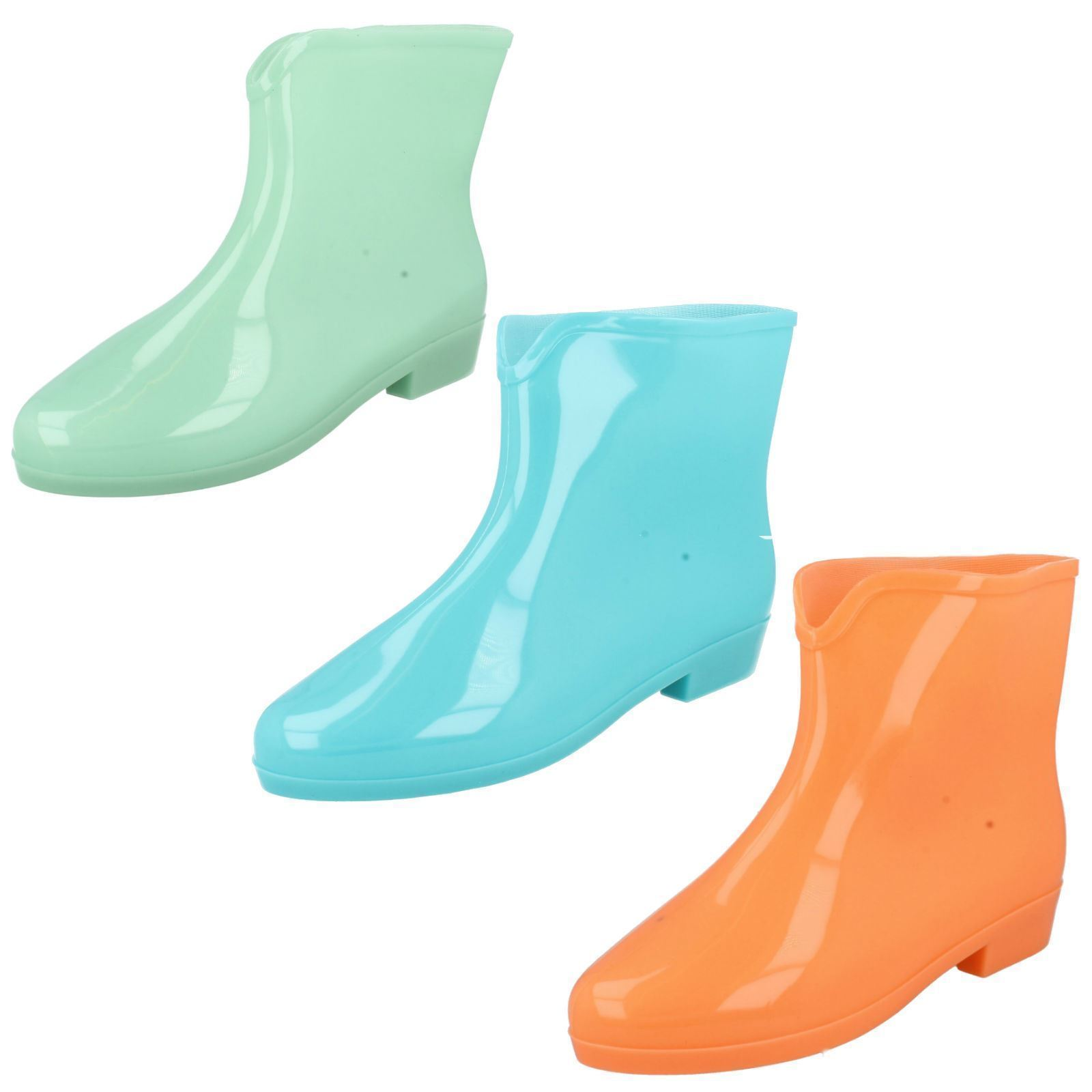 Ladies Glow in the Dark Ankle Wellies Wellington Boots in 3 Colours X1197