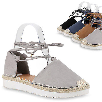 Espadrilles Damen Bast Sandaletten Geschnürt Profil Sohle 815015 Trendy
