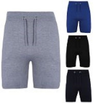 MENS KNEE LENGTH DRAWSTRINGS SWEAT SUMMER FLEECE JERSEY JOGGING SHORTS S M L XL