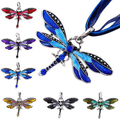 Damen Vintage Halskette Libelle Anhänger Strass Dragonfly Modeschmuck Geschenk