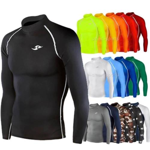 Mens Boys Long Sleeve Top Sports Shirt Rugby Football Running Compression Take 5