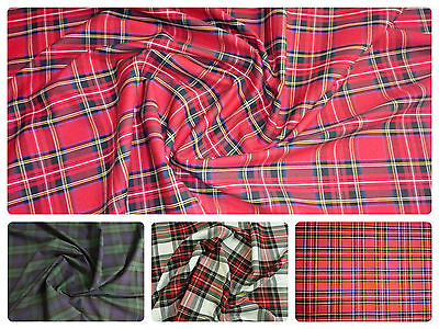 Flat Weave 100% Cotton Tartan Fabric Material Double Sided - 147cm (58