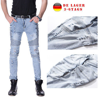 Herren Ripped Jeanshose BikerJeans RETRO RÖHRENJEANS Washed Jeanhosen