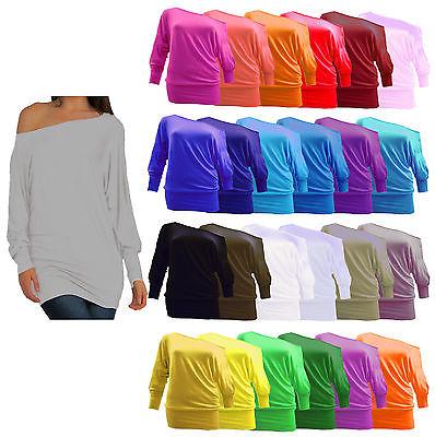 New Women's Long Sleeves Plain Batwing Plus Size Baggy Top Ladies Jumper 8-26.