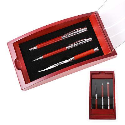 Schreibset Borkum - braun inkl. Wunschgravur mit Geschenkbox aus Holz / Glas