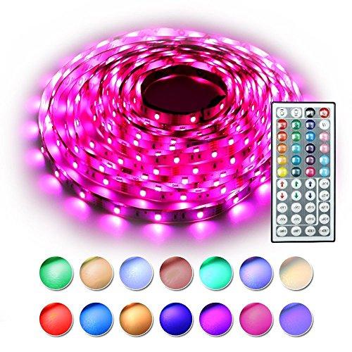 RaThun LED Streifen Beleuchtung 10M 32.8 Ft 5050 RGB 300 LED Flexible Farbe wechselnden Komplettpaket mit 44 Tasten IR-Fernbedienung, Kontrollbox, 12V 5A Netzteil für Heim Dekorative