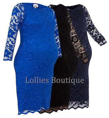 John Zack Maternity Slash Neck Stretch Lace Dress Choice of Colours New 6 - 18