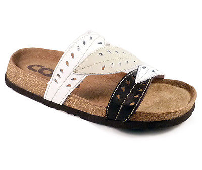 LADIES GIRLS WOMENS LEATHER FLAT SUMMER COMFORT CUSHION CORK BEACH SANDALS SIZE