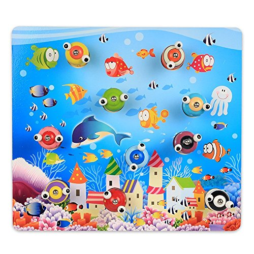 InnooBaby 10 Stück Magnetische 3D Angelspiel Fische angeln mit 2 Angelruten Holzpuzzles Kinderspiel Actionspiel Spielzeug Geschicklichkeitsspiel für Kinder Jungen Mädchen ab 3 Jahre Alt