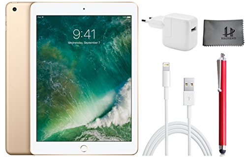 Apple iPad Wifi ???Tablet? PC ?MPGW2FD/A ?24,6 cm (9,7 Zoll)? - 128GB?,? Gold + ?Highend Zubehor Bundle ** Neueste model 2017 **