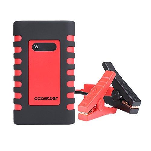 Auto Starthilfe, CCbetter 400A Spitzenstrom 10000mAh Tragbare Auto Anlasser Multifunktions Notfallkoffer mit Auto-Ladegerät, AC/DC-Adapter Und Aufblasbare Düsen (Rot&Schwarz)