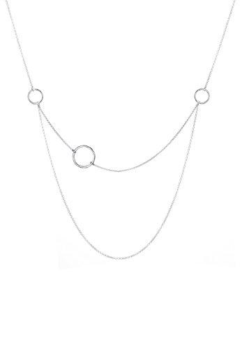 Elli Damen-Kette mit Anhänger Layer, Kreis 925 Silber 60 cm - 0101570417_60