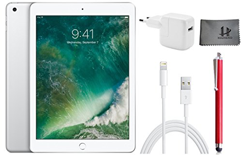 ?Apple iPad Wifi ???Tablet PC? MP2J2FD/A? ?24,6 cm ( 9,7 Zoll )? - 128GB?,? Silber + ?Highend Zubehor Bundle ** Neueste model 2017 **