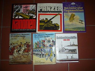 Bücherpaket 6 St. Militärgeschichte, Artillerie, Kampfwagen, Schlachtschiffe