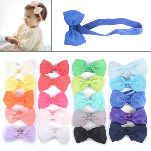 20 Farben Haarband Set Baby Mädchen Stirnband Schleifen Kopfband Haarschmuck