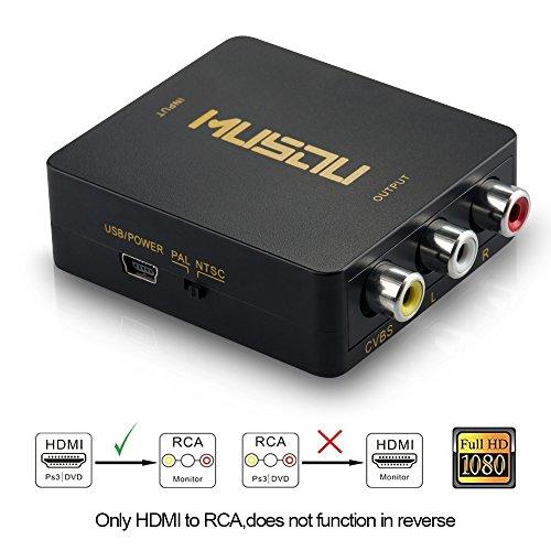 Musou HDMI auf 3RCA Composite CVBS Video Audio AV Converter Adapter 1080P