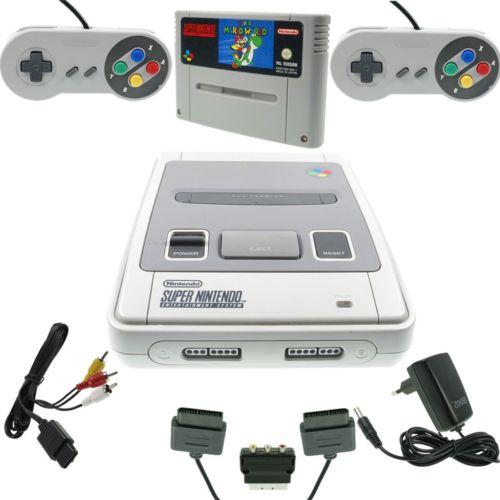 Super Nintendo SNES Konsole ALLE Kabel 2 Controller Spiel Super Mario World GUT