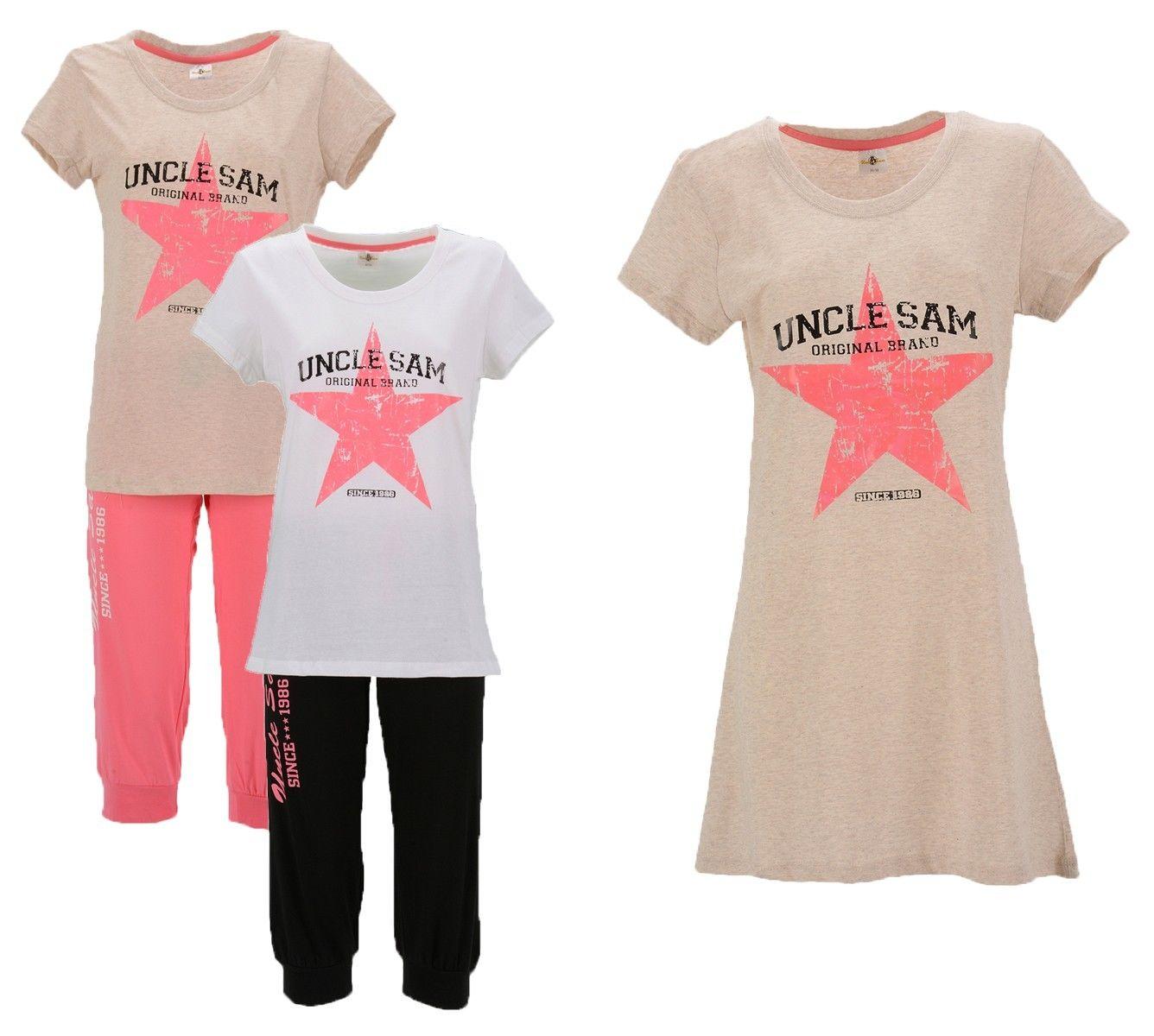 Uncle Sam Sportswear Damen Pyjama Nachthemd Schlafanzug Fitnessbekleidung Shorty