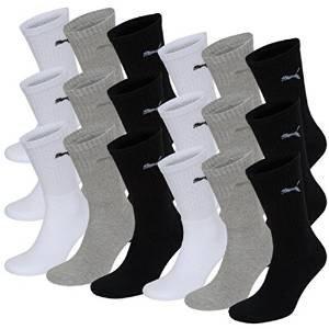 Puma Herren Unisex Sport Socken in gewohnter Puma Markenqualität. 9 Paar (35/38 - 9 Paar, white/grey/black)