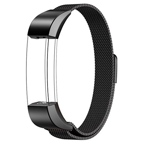 Fitbit Alta HR und Alta Armband Sport, Swees Edelstahl Uhrenarmband Mailänder Magnetschleife Edelstahlband Ersatz Armband Für Fitbit Alta HR und Alta - Schwarz