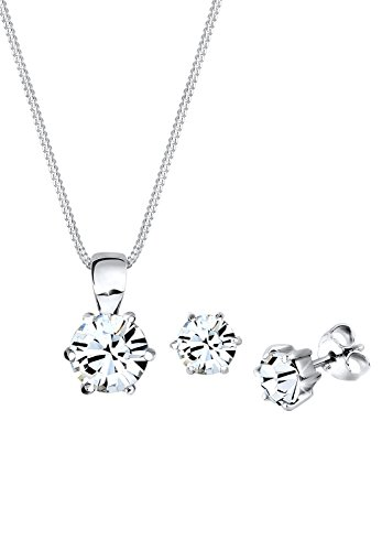 Elli Schmuckset Basic Swarovski Kristall Silber 09000039